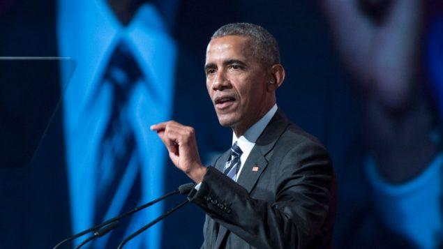 الرئيس الأميركي السابق باراك اوباما يحاضر في غرفة التجارة في مونتريال في 6-6-2017/Paul Chiasson/CP