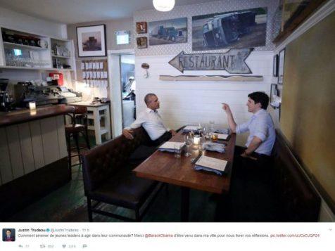 الرئيس اوباما(إلى اليسار) ورئيس الحكومة الكنديّة جوستان ترودو في أحد مطاعم مونتريال/Twitter/JustinTrudeau