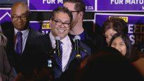 ناهد ننشي عمدة كالغاري بعد إعلان فوزه في الانتخابات البلديّة لولاية ثالثة/ Radio-Canada