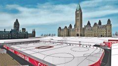 رسم تقريبي لحلبة التزحلق على الجليد على هضبة البرلمان الكندي في اوتاوا/Canada 150