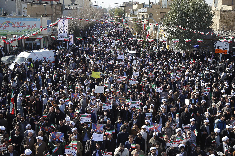 مظاهرات مؤيّدة للنظام في طهران في 03-01-2018/(Mohammad Ali Marizad/Tasnim News Agency via AP)