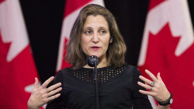 وزيرة الخارجيّة الكنديّة كريستيا فريلاند/Nathan Denette/CP