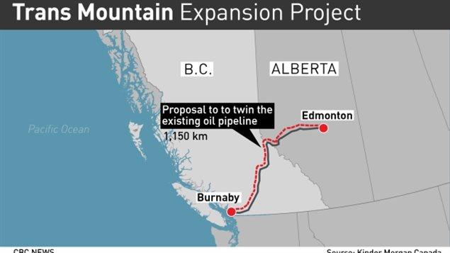 مسار انبوب ترانس ماونتن لنقل النفط من البرتا إلى بريتيش كولومبيا/CBC/هيئة الاذاعة الكنديّة/ سي بي سي