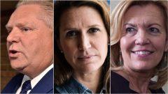 من اليمين: كريستين اليوت وكارولين مالروني ودوغ فورد المرشّحون لزعامة المحافظين في اونتاريو/Frank Gunn, Christopher Katsarov, Chris Young/Canadian Press)