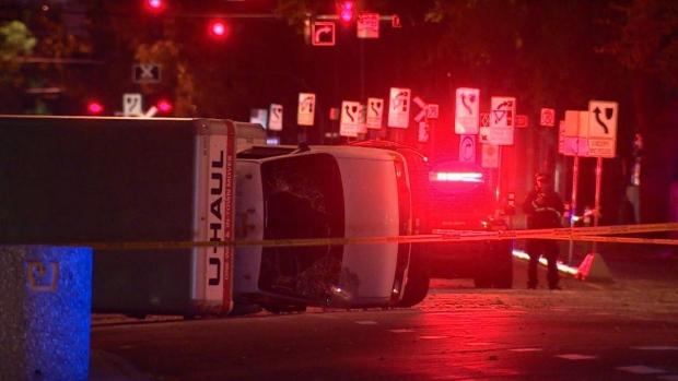 مكان الاعتداء بالشاحنة في ادمنتون في 30-09-2017/CBC/ هيئة الاذاعة الكنديّة