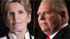 رئيسة الحكومة الليبراليّة في اونتاريو كاثلين وين وزعيم المحافظين المحلّي دوغ فورد/CBC/David Donnelly/ هيئة الاذاعة الكنديّة