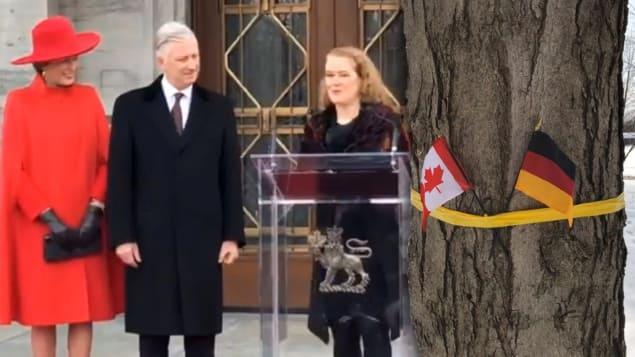 حاكمة كندا العامّة جولي باييت لدى استقبالها الملك فيليب والملكة ماتيلد في مقرّها الرسمي في اوتاوا/ Radio-Canada