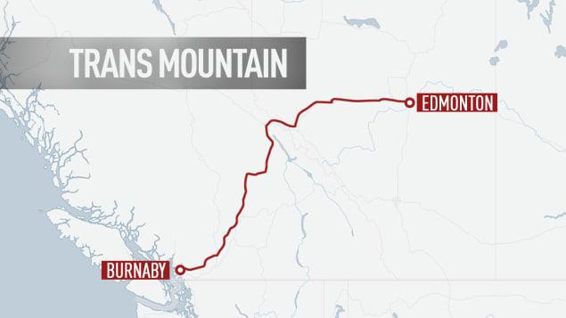 مسار أنبوب ترانس ماونتن لنقل النفط من البرتا نحو بريتيش كولومبيا/: Radio-Canada