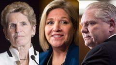 زعيم المحافظين دوغ فورد تليه زعيمة التقدمي الجديد أندريا هورواث وأخيرا زعيمة الليبراليين كاثلين وين في مقاطعة أونتاريو/الصحافة الكندية