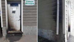 صورة تظهر الأضرار المادية التي أصابت المسجد في إدسون في ألبرتا نتيجة