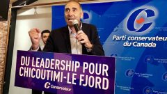 ريشار مارتيل مرشّح حزب المحافظين يتحدّث بعد فوزه في الانتخابات الفرعيّة في شيكوتيمي / Radio-Canada/Priscilla Plamondon Lalancette