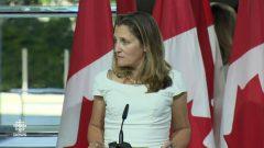 الندوة الصحفية لكريستيا فريلاند وزيرة الخارجية الكندية حيث أعلنت تعليق مفاوضات نافتا إلى الأربعاء القادم - CBC