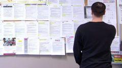 طالب عمل ينظر إلى إعلانات مبوبو عن وظائف شاغرة في اونتاريو حقوق الصورة: هيئة الإذاعة الكندية