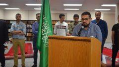 طالب سعودي يتحدّث خلال المؤتمر الصحفي الذي عقده الملحق الثقافي السغودي في اوتاوا د. فوزي بخاري/المكتب الثقافي السعودي في اوتاوا