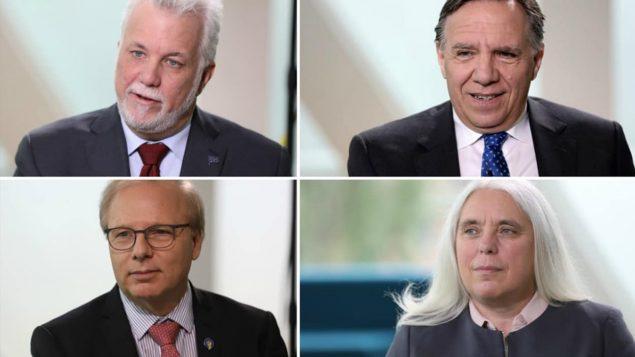 من اليمين فرنسوا لوغو يليه فيليب كويار ومن اليمين تحت مانون ماسيه ومن ثم جان فرنسوا ليزيه/راديو كندا