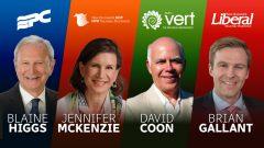 زعماء الأحزاب الرئيسية في نيوبرنسويك من اليمين برايان غالانت يليه دافيد كون ومن ثم جنيفر ماكنزي وأخيرا زعيم حزب المحافظين بلين هيجز/راديو كندا