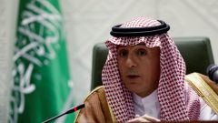 """قال عادل الجبير وزير الخارجية السعودي إنه """"من المشين من وجهة نظرنا أن يؤنبنا بلد بهذه الطريقة ويطالب باطلاق فوري. في هذه الحالة، نطالب بالاستقلال الفوري لكيبيك ، وحقوق متساوية للسكان الأصليين في كندا"""" – Faisal Nasser/Reuters"""