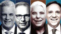 من اليمين إلى اليسار : فر انسوا لوغو زعيم التحالف من أجل مستقبل كيبيك(CAQ)، مانون ماسي (حزب التضامن الكيبيكي)، فرانسوا ليزي (الحزب الكيبيكي PQ) وفيليب كويار (الحزب الليبرالي الكيبيكي PLQ) – Radio Canada