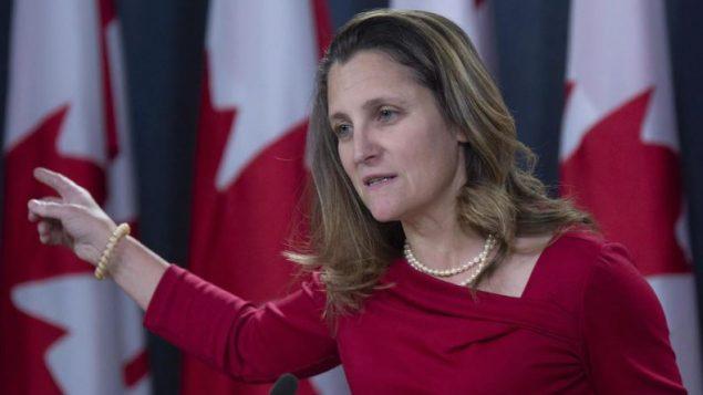 وزيرة الخارجيّة الكنديّة كريستيا فريلاند/ Adrian Wyld/PC