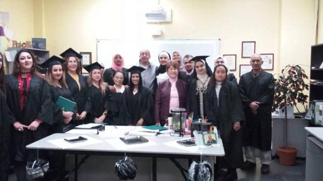 وائل غالي أسناذ اللّغة الانكليزيّة( في الوسط) مع تلاميذه/iwchamilton