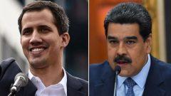 الرئيس الفنزويلي نيكولاس مادورو (إلى اليمين) و الرئيس الفنزويلي بالوكالة - Getty Images/Yuri Cortez and Frederico Parra