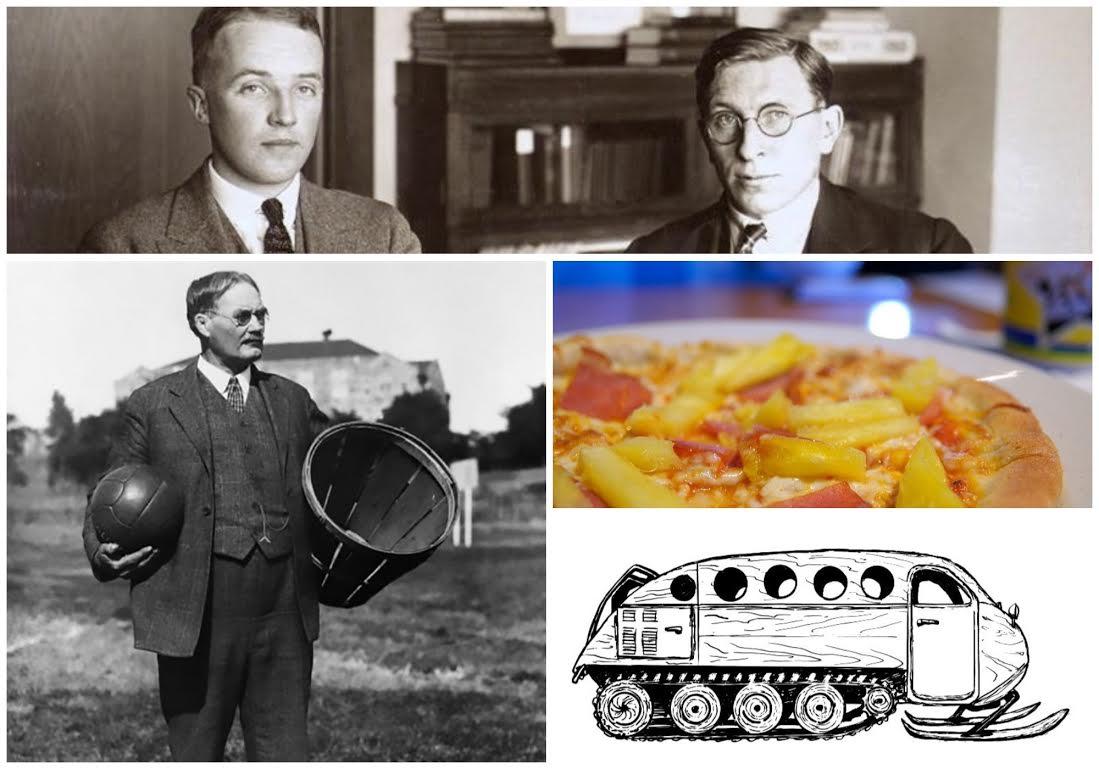 في الأعلى: الدكتور تشارلز بيست والدكتور فريدريك بانتينغ من جامعة ماكغيل، مكتشفا الأنسولين، الصورة : 1924. إلى اليسار: الدكتور جيمس نايسميث من ألمونت (أونتاريو)، مخترع كرة السلة. إلى اليمين: بيتزا هاوايان التي اخترعها سام بانوبولوس في تشاتهام (أونتاريو) عام 1962 والسيارة الثلجية بومباردييه B12.
