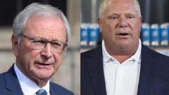 رئيس وزراء اونتاريو دوغ فورد (إلى اليمين) ورئيس وزراء نيوبرنزويك بلين هيغز/Radio-Canada