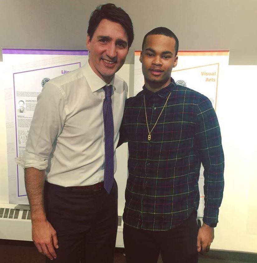 الطالب تريفون كليتون يلتقي برئيس الحكومة الكندية جوستان ترودو - Facebook