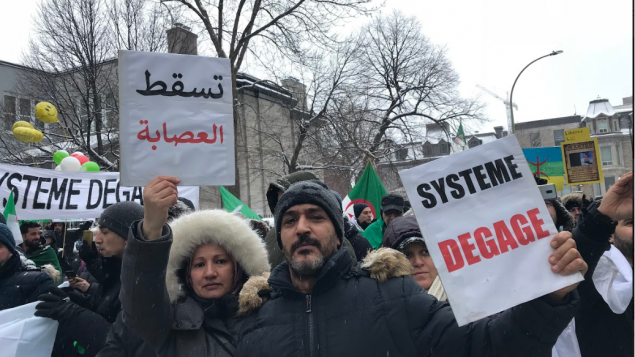 عيسى وزوجته سعاد، زوج جزائري شارك في المظاهرة التي نُظمت في مونتريال ضد الولاية الخامسة للرئيس الجزائري عبد العزيز بوتفليقة - Photo : Samir Bendjafer