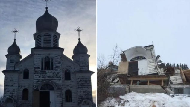 كنيسة تمّ هدمها في مقاطعة سسكتشوان عام 2018 بسبب مخاوف تتعلّق بالسلامة بعد أن تزعزعت أساساتها/Submitted by Pauline Bear