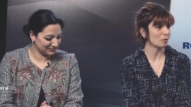 كاتبة المسرح رانيا الحلو (إلى اليمين) والممثلة والمغنية ميراي حرب في 12-04-2019/RCI