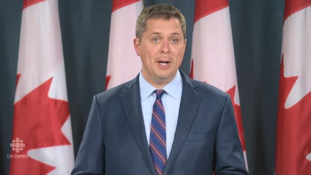 زعيم المحافظين أندرو شير شكذك في إرادة الحكومة الليبراليّة في بناء الأنبوب الجديد في 18-06-2019/CBC/هيئة الاذاعة الكنديّة