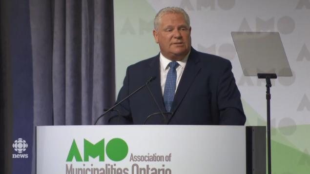 رئيس حكومة أونتاريو دوغ فورد يتحدّث أمام اتّحاد بلديّات أونتاريو في 19-08-2019/CBC/ هيئة الاذاعة الكنديّة
