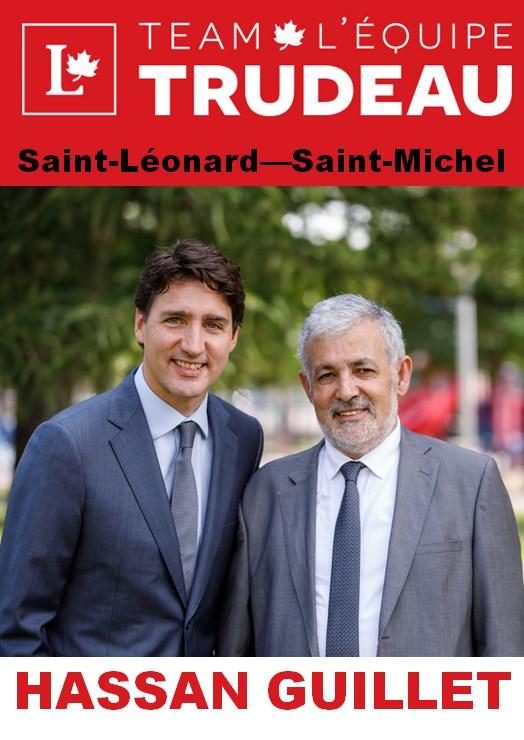 ملصق إعلاني انتخابي يظهر فيه المرشّح السابق حسن غيّة (إلى اليمين) مع جوستان ترودو، زعيم الحزب الليبرالي الكندي ورئيس الحكومة - Facebook