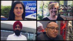 مرشون من أصول مختلفة في انتخابات 10 سبتمبر أيلول المقبل (من اليمين إلى اليسار أعلى الصورة) : ليزا تايلور (الحزب الديمقراطي الجديد)، جاسمين برار (حزب المحافظين التقدمي). (من اليمين إلى اليسار أسفل الصورة) : رون إيفنس و سرب غيل (حزب المحافظين التقدمي) – CBC News Graphics