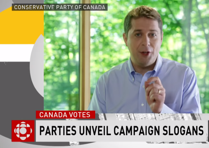 زعيم المحافظين أندرو شير يتحدّث في إعلان انتخابي لحزب المحافظين/ CBC/هيئة الاذاعة الكنديّة