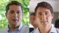 رئيس الحكومة الكنديّة جوستان ترودو (إلى اليمين) وزعيم المحافظين، حزب المعارضة الرسميّة أندرو شير/Conservative Party/Liberal Party