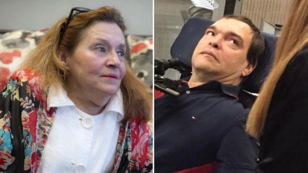 """اعترض كلّ من جان تروشون (إلى اليمين) ونيكول غلادو على القانون الذي """"حرمهما من المساعدة الطبية على الموت لأن موتهما لم يكن وشيكًا."""" - The Canadian Press / PAUL CHIASSON/ RADIO CANADA / GENEVIÈVE GARON"""
