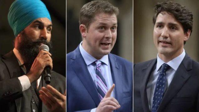 من اليمين إلى اليسار : رئيس الحكومة، الليبرالي جوستان ترودو والزعيم المحافظ أندرو شير وزعيم الحزب الديموقراطي الجديد جاغميت سينغ -The Canadian Press