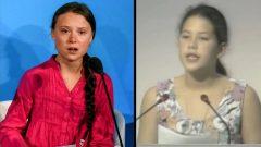 الكندية سيفيرن كوليس-سوزوكي (إلى اليمين) في عام 1992 و السويدية غريتا ثونبرغ - Youtube