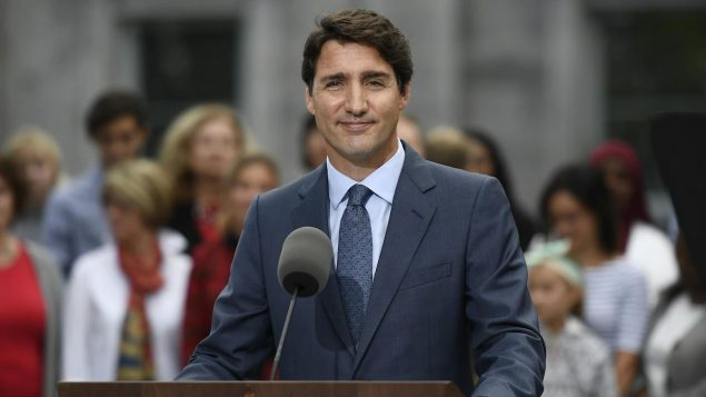 جوستان ترودو، زعيم الحزب الليبرالي الكندي ورئيس الحكومة الخارجية في اليوم الأول من الحملة الانتخابية - The Canadian Press / Justin Tang