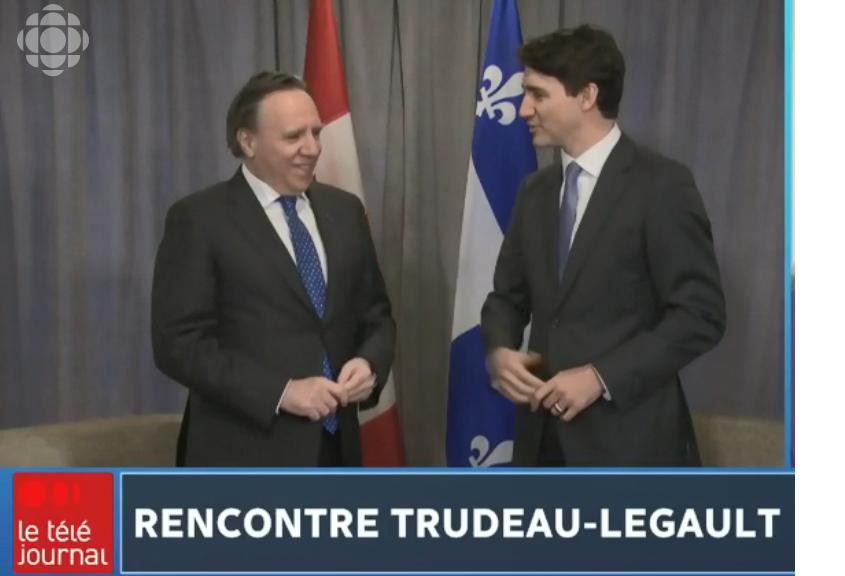رئيس حكومة كيبيك فرانسوا لوغو (إلى اليسار) رفع مطالبه إلى الحكومة الكنديّة جوستان ترودو في وقت سابق من العام الجاري 2019/Radio-Canada