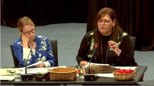فيفيان ميشيل (إلى اليمين)، رئيسة نساء السكان الأصليين في كيبيك  - الصورة مهداة من طرف لجنة التحقيق حول العلاقات بين السكان الأصليين وبعض الخدمات العامة في كيبيك