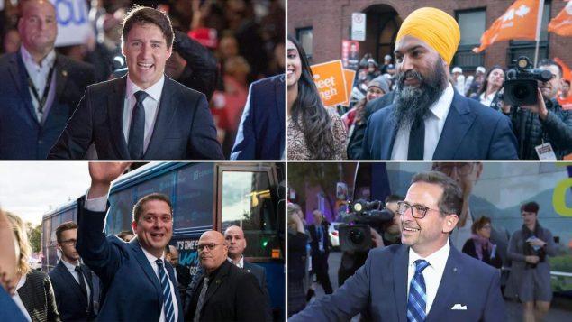 في الأعلى، من اليمين إلى اليسار : جاغميت سينغ، الحزب الديمقراطي الجديد، جوستان ترودو، الحزب الليبرالي. في الأسفل ، من اليمين إلى اليسار : إيف-فرانسوا بلانشيه، الكتلة الكيبيكية، أندرو شير، حزب المحافظين - Radio Canada