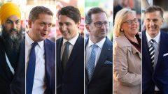 وصول زعماء الأحزاب إلى المتحف الكندي للتاريخ في غاتينو يوم 10.10.2019 للمشاركة في مناظرة الزعماء. (من اليمين إلى اليسار) : ماكسيم برنييه (حزب الشعب في كندا)، إليزابيث ماي (حزب الخضر)، إيف-فرانسوا بلانشيه (الكتلة الكيبيكية)، جوستان ترودو (الحزب الليرالي الكندي)، أندرو شير (حزب المحافظين الكندي) و جاغميت سينغ (الحزب الديمقراطي الجديد) - The Canadian Press