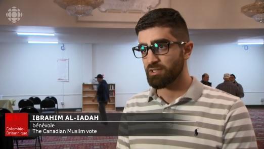 """إبراهيم العيادة ، متطوع في مجموعة """"التصويت الكندي المسلم"""" من فانكوفر - Radio Canada"""