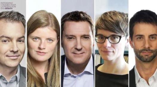 5 صحفيون سيديرون المناظرة : (من اليمين إلى اليسار) فرانسوا كاردينال (يومية لابريس)، هيلين بوزيتي (يومية لودوفوار)، باتريس روا (منشط المناظرة، تلفزيون هيئة الإذاعة الكندية)، باتريسيا كلوتييه (يومية لو صولاي) و أليك كاستونغاي (مجلة لاكتواليتيه) - Canadian Debate Production Partnership