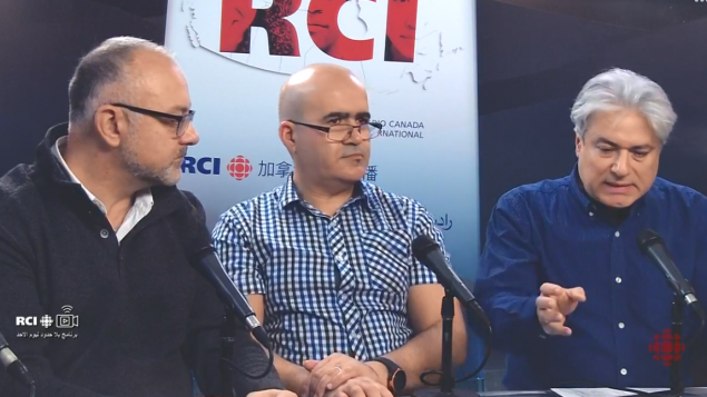 من اليمين: فادي الهاروني وسمير بن جعفر وضيف الحلقة عارف سالم عضو بلديّة سان لوران/RCI