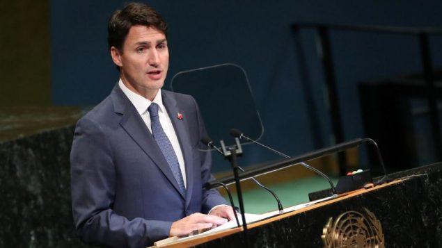 جوستان ترودو، رئيس الحكومة الكندية يلقي خطابا في الدورة الـ73 للجمعية العامة للأمم المتحدة المنعقدة في 24 سبتمبر أيلول 2018 - Reuters / Carlo Allegri