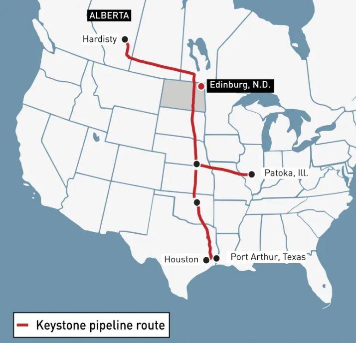 تم بناء خط الأنابيب كيستون لنقل النفط الخام من ألبرتا إلى مصافي التكرير في باتوكا ،في ولاية إلينوي وكوشينغ، في ولاية أوكلاهوما - Alberta Government
